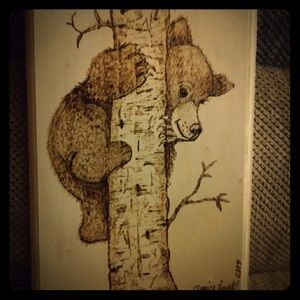 Other - Hand Drawn Bear on wooden Plaque then Wood Burned